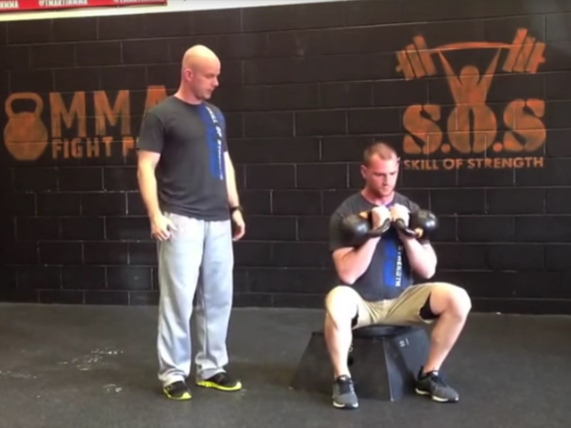 Double Kettlebell Concentric Box Squat